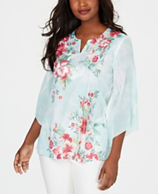 JM Collection Printed Chiffon Top, Created for Macy's