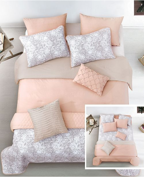 Riverbrook Home Katie Blush 6 Pc Twin Layered Comforter and Coverlet Set