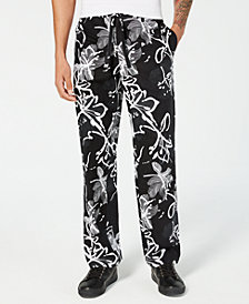 I.N.C. Men's Abstract Floral Drawstring Pants, Created for Macy's