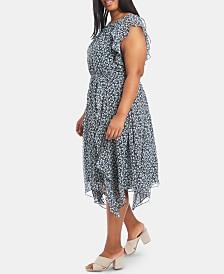 1.STATE Plus Size Cascading Calico Ruffled Flounce Dress