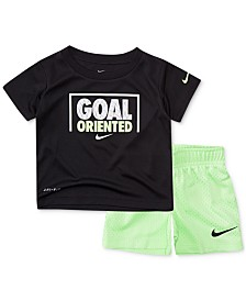 Nike Baby Boys 2-Pc. Dri-FIT Goal Oriented Graphic T-Shirt & Shorts Set