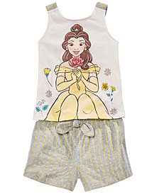 Disney Toddler Girls 2-Pc. Belle Bow Tank Top & Striped Shorts Set, Created for Macy's