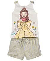 133913608 Disney Little Girls 2-Pc. Belle Bow Tank Top & Striped Shorts Set,