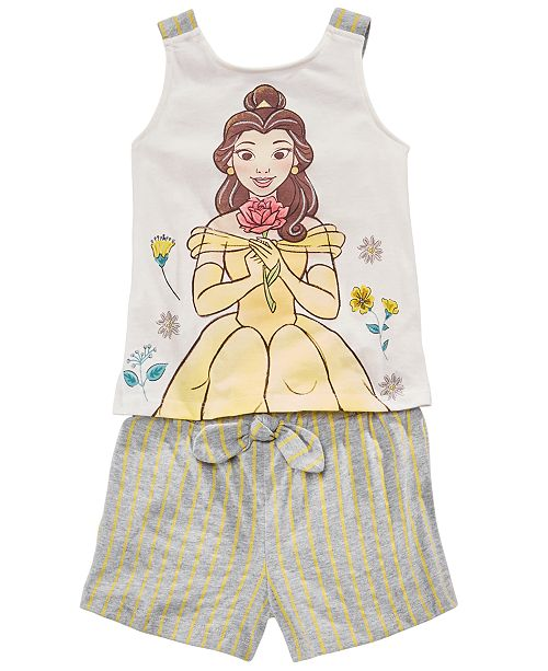 Disney Little Girls 2-Pc. Belle Bow Tank Top & Striped Shorts Set, Created for Macy's