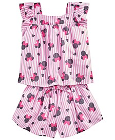 Little Girls 2-Pc. Cotton Minnie Mouse Striped Top & Shorts Set, Created for Macy's