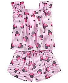 Disney Little Girls 2-Pc. Cotton Minnie Mouse Striped Top & Shorts Set, Created for Macy's