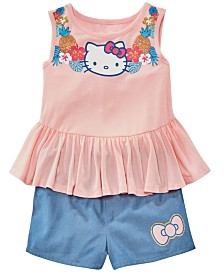 Hello Kitty Little Girls 2-Pc. Peplum Tank Top & Chambray Shorts Set, Created for Macy's
