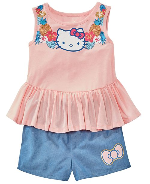 Hello Kitty Toddler Girls 2-Pc. Peplum Tank Top & Chambray Shorts Set, Created for Macy's