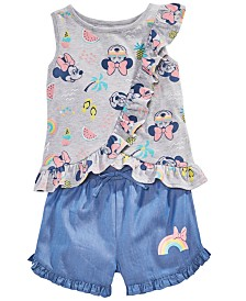 Disney Little Girls 2-Pc. Minnie Mouse Top & Shorts Set, Created for Macy's