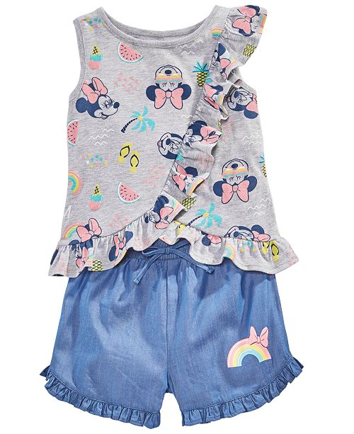 Disney Toddler Girls 2-Pc. Minnie Mouse Top & Shorts Set, Created for Macy's