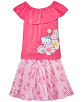 fb59aec3a Hello Kitty Little Girls 2-Pc. Ruffle Top & Printed Skirt Set, Created