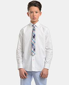 Tommy Hilfiger Big Boys Stretch Diamond Geo-Print Shirt & Plaid Necktie Set