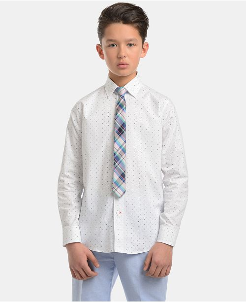 Tommy Hilfiger Big Boys Stretch Diamond Geo-Print Shirt & Plaid Necktie Set