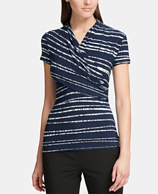 DKNY Ruched Striped Top