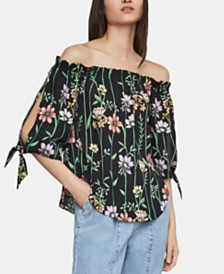 BCBGMAXAZRIA Floral-Print Off-The-Shoulder Top
