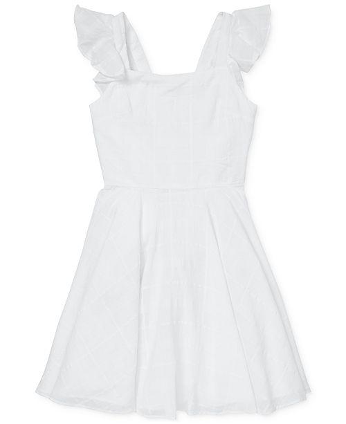 Polo Ralph Lauren Big Girls Windowpane Cotton Dress