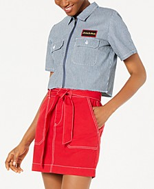 Short-Sleeve Pinstripe Cropped Work Shirt