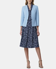 Tahari ASL Collarless Blazer, Printed Blouse & Printed Skirt