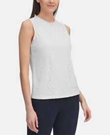 Tommy Hilfiger Lace Ruffled-Neck Top, Created for Macy's