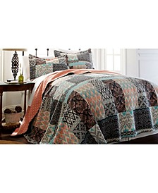 Sanctuary By Pct 100% Cotton 3 Pc Printed Reversible Quilt Sets Sylvia Full/Queen