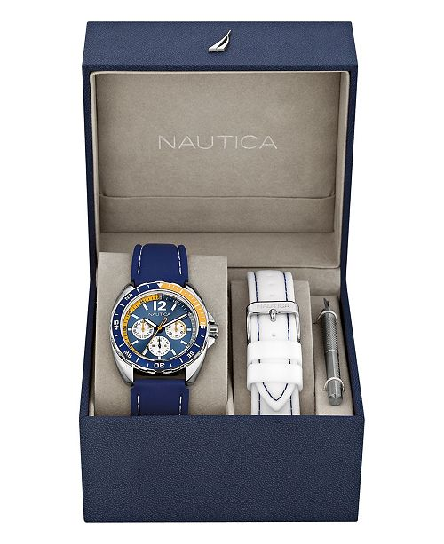 Nautica Men's N09915G Sport Ring Multifunction Navy Resin Strap Watch Box Set with White Resin Strap