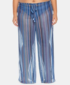Becca ETC Plus Size Pier Side Stripe Crochet Cover-Up Pants