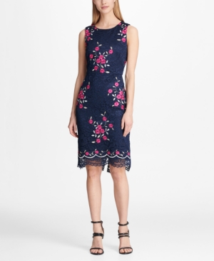 Floral Embroidered Lace Sheath Dress Created For Macys In Midnight