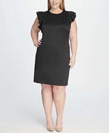 Tommy Hilfiger Plus Size Sheath Flutter Sleeve Dress