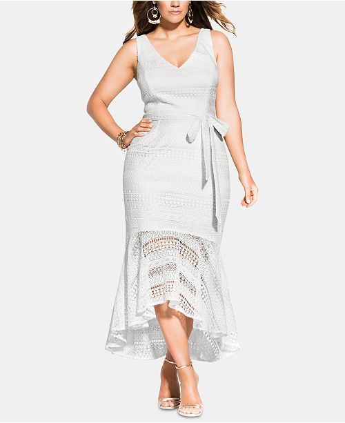 City Chic Trendy Plus Size Simmer Lace Mermaid Dress