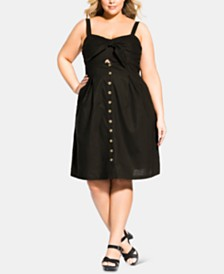 City Chic Trendy Plus Size Sweetly Tied Button-Front Dress