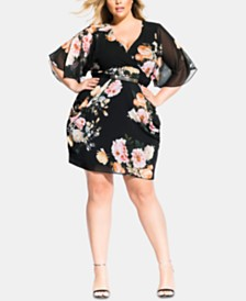 City Chic Trendy Plus Size Tuscan Rose Belted Dress