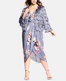 City Chic Trendy Plus Size Scalloped Fringe Jacket