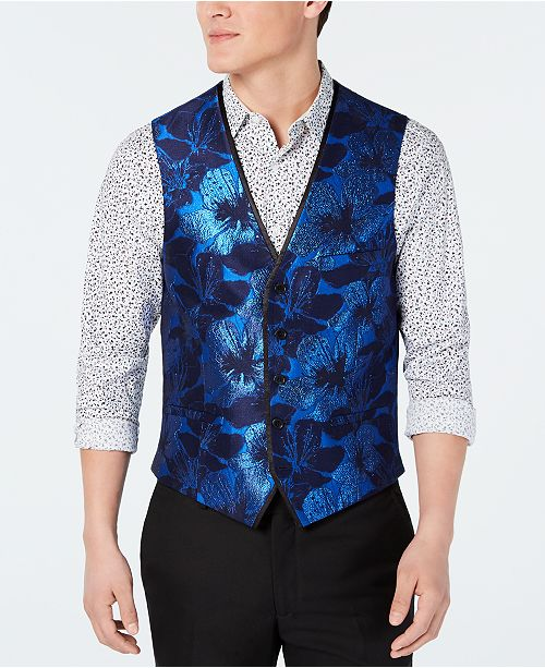 INC International Concepts I.N.C. Men's Slim-Fit Floral Jacquard Vest, Created for Macy's