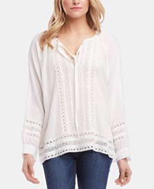 Karen Kane Cotton Lace Split-Neck Top