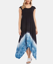 Karen Kane Tie-Dyed Handkerchief-Hem Dress