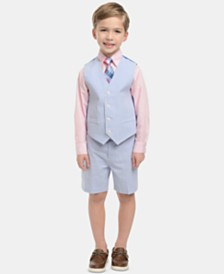 Nautica Little Boys 4-Pc. Seersucker Vest, Shorts, Dress Shirt & Tie Set