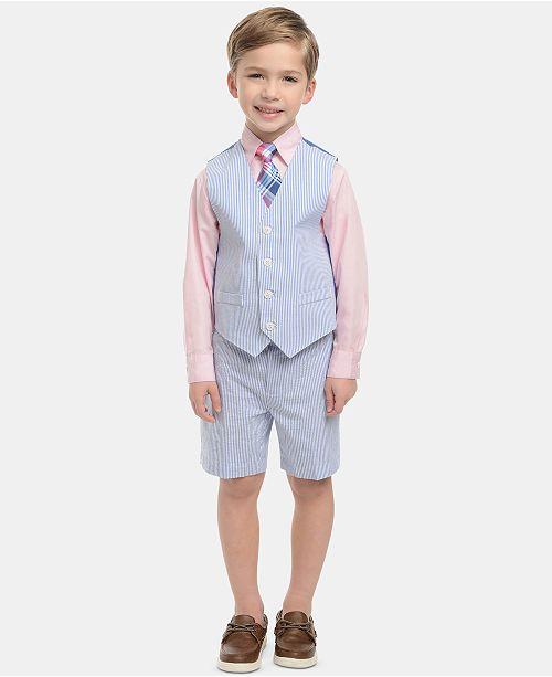 Nautica Little Boys 4-Pc. Seersucker Vest, Shorts, Dress Shirt & Tie Set