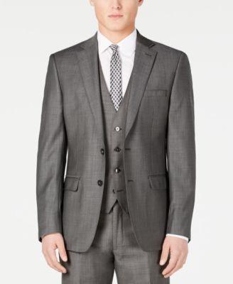 Charcoal Mini Grid Slim X-Fit Suit Jacket