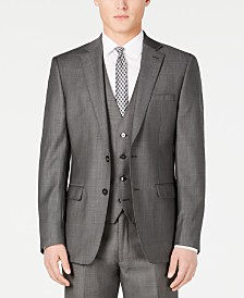 Calvin Klein Charcoal Mini Grid Slim X-Fit Suit Jacket