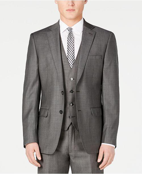 Calvin Klein Charcoal Mini Grid Slim X-Fit Suit Jacket