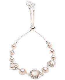 Anne Klein Silver-Tone Pink Imitation Pearl Slider Bracelet