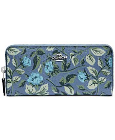 COACH Floral Print Accordion Zip Wallet