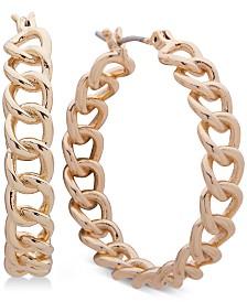 """Lauren Ralph Lauren Gold-Tone Chain Medium 1-1/4"""" Hoop Earrings"""