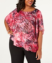 300b1890b682f5 Alex Evenings Plus Size Asymmetrical-Ruffle Blouse