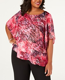 Alex Evenings Plus Size Asymmetrical-Ruffle Blouse