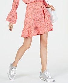 MICHAEL Michael Kors Ruffled Reef-Print Skirt, Regular & Petite