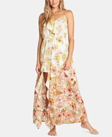 Billabong Juniors' Hot Nights Cotton Ruffled Maxi Dress