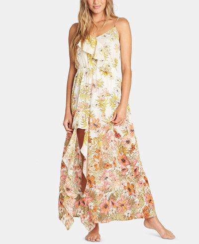 Billabong Juniors' Hot Nights Cotton Ruffled Maxi Dress