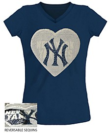 Big Girls New York Yankees Flip Sequin T-Shirt