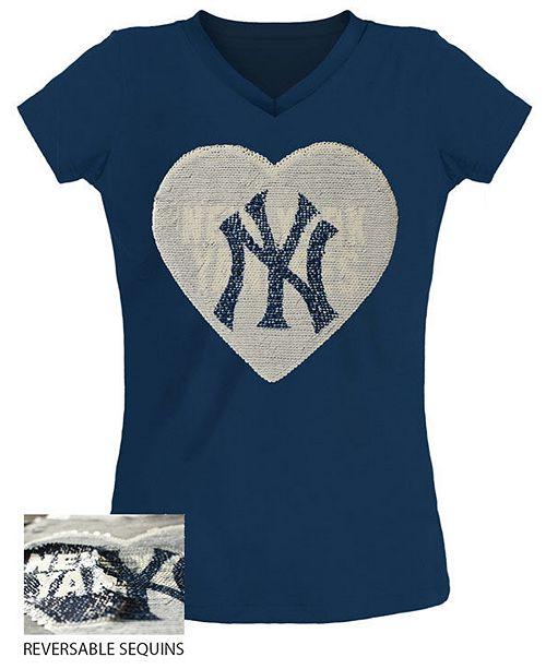 5th & Ocean Big Girls New York Yankees Flip Sequin T-Shirt